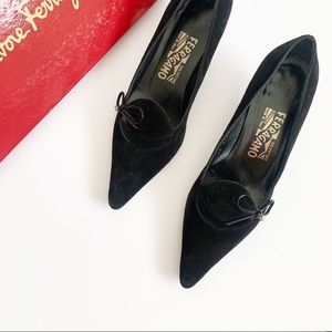 Vintage Ferragamo Black Cut Out Pumps